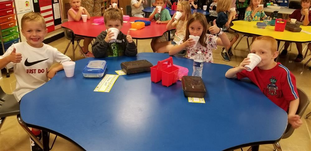 "Students enjoyed ""Jitter Juice"" to help wash those 1st day jitters away."